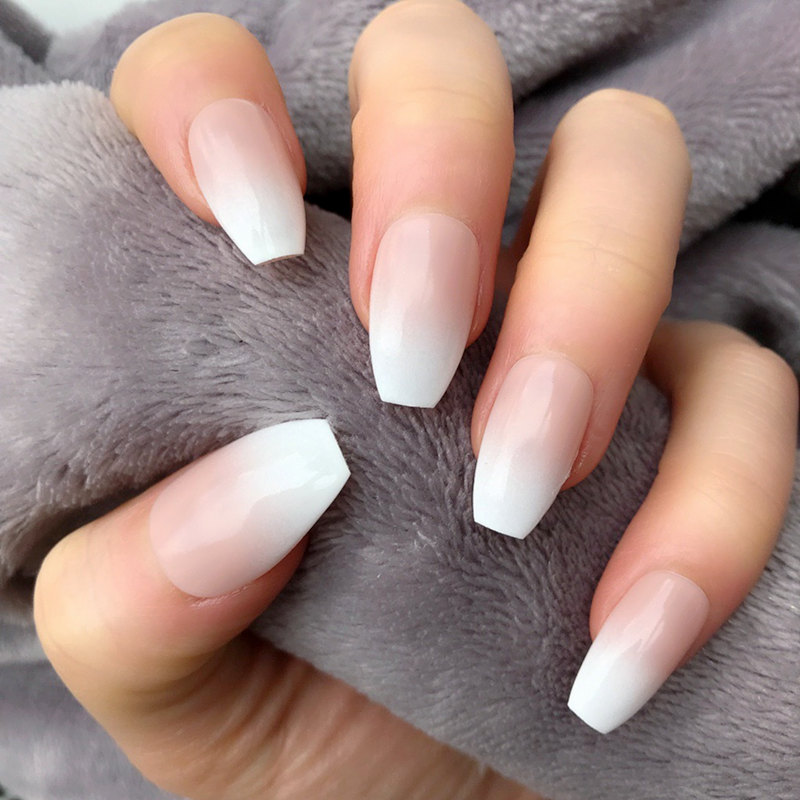 Ombre French Coffin Nails False Plastics Impress Press On Fake Nails Short Artificial Ballerina Nail Pops Faux Ongle Autocollant