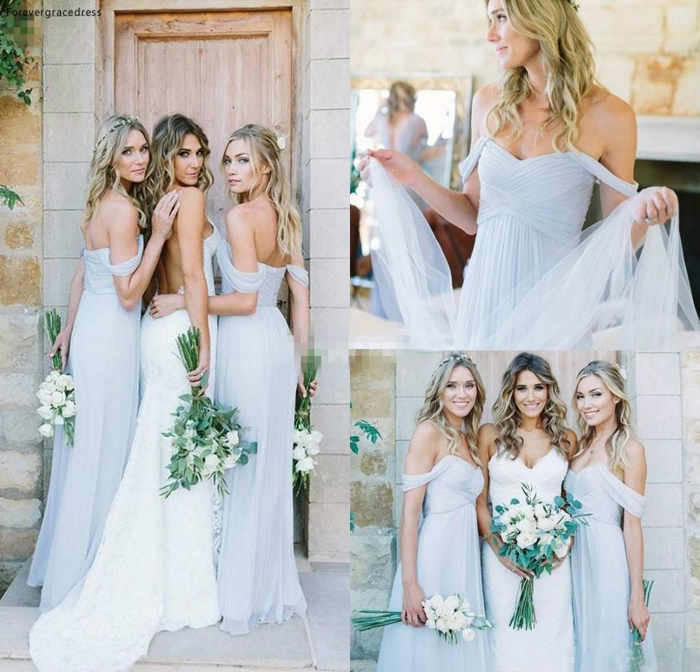 Draped Off-shoulder Beach Boho Long Blue Bridesmaid Dress Cheap Garden Wedding Party Guest Maid Of Honor Gown Plus Size