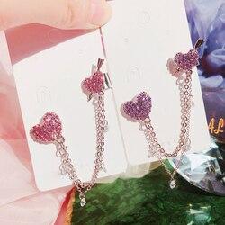 MENGJIQIAO Korean Elegant Shiny Rhinestone Love Heart Long Chian Drop Earrings For Women Girls 2 In 1 Pendientes Sweet Jewelry