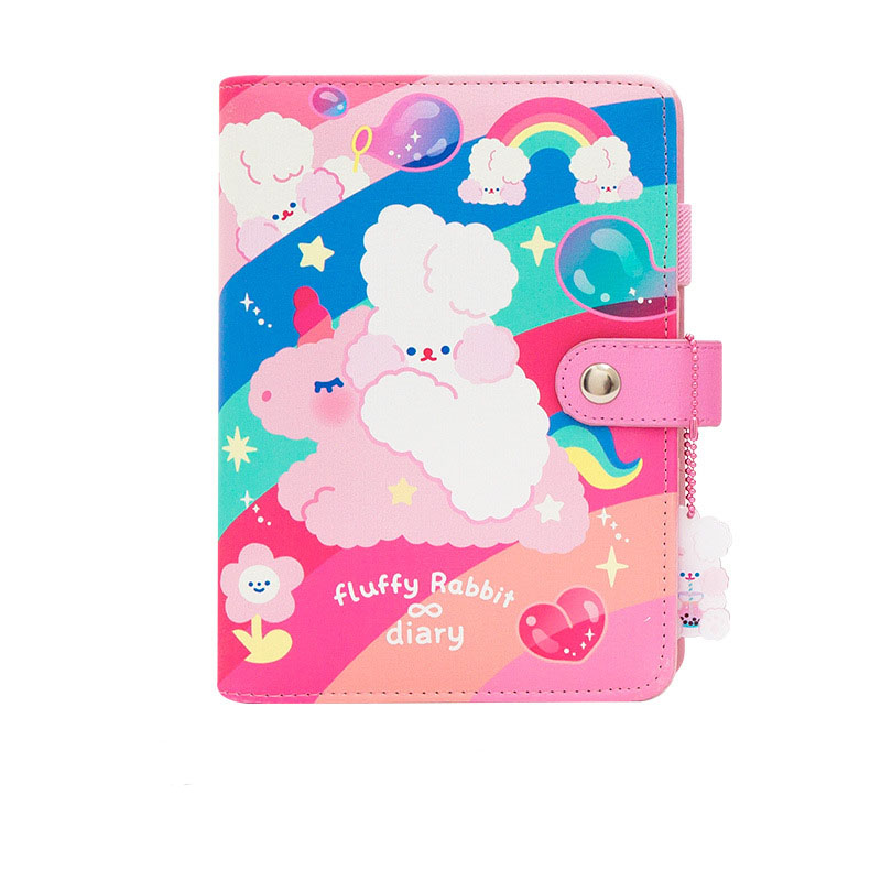 A6 Kawaii Journal Notebook Diary Loose-leaf Planner Weekly Ring Binder Planner Agenda Diary Rabbit Notebook Sticker Pockets