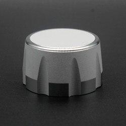 Perilla de aluminio perilla de potenciómetro, botón codificador de volumen y Audio, 35X20mm, plateada