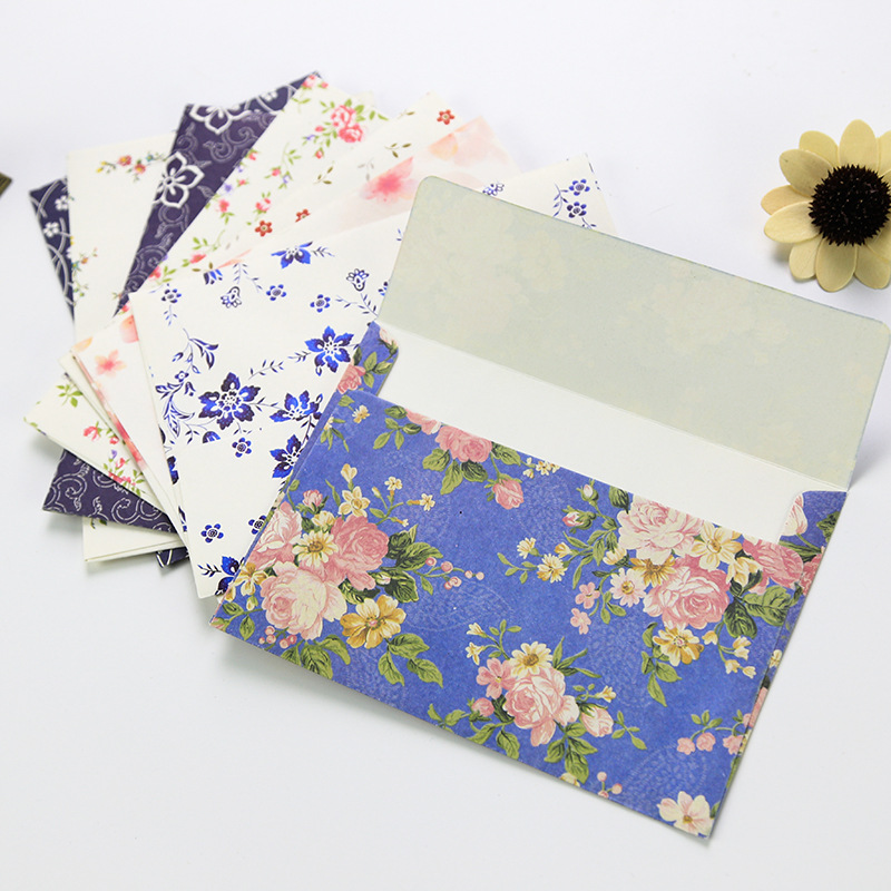 10Pcs Beautiful Flower Envelope Letterhead Cherry Roses Letter Paper Fresh And Elegant Floral Envelope Love Letters