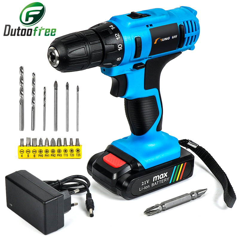 18V 21V 25V Mini Wireless Power Tools Kit Cordless Rechargeable Screwdriver Lithium-Ion Battery Waterproof Drill US EU Plug