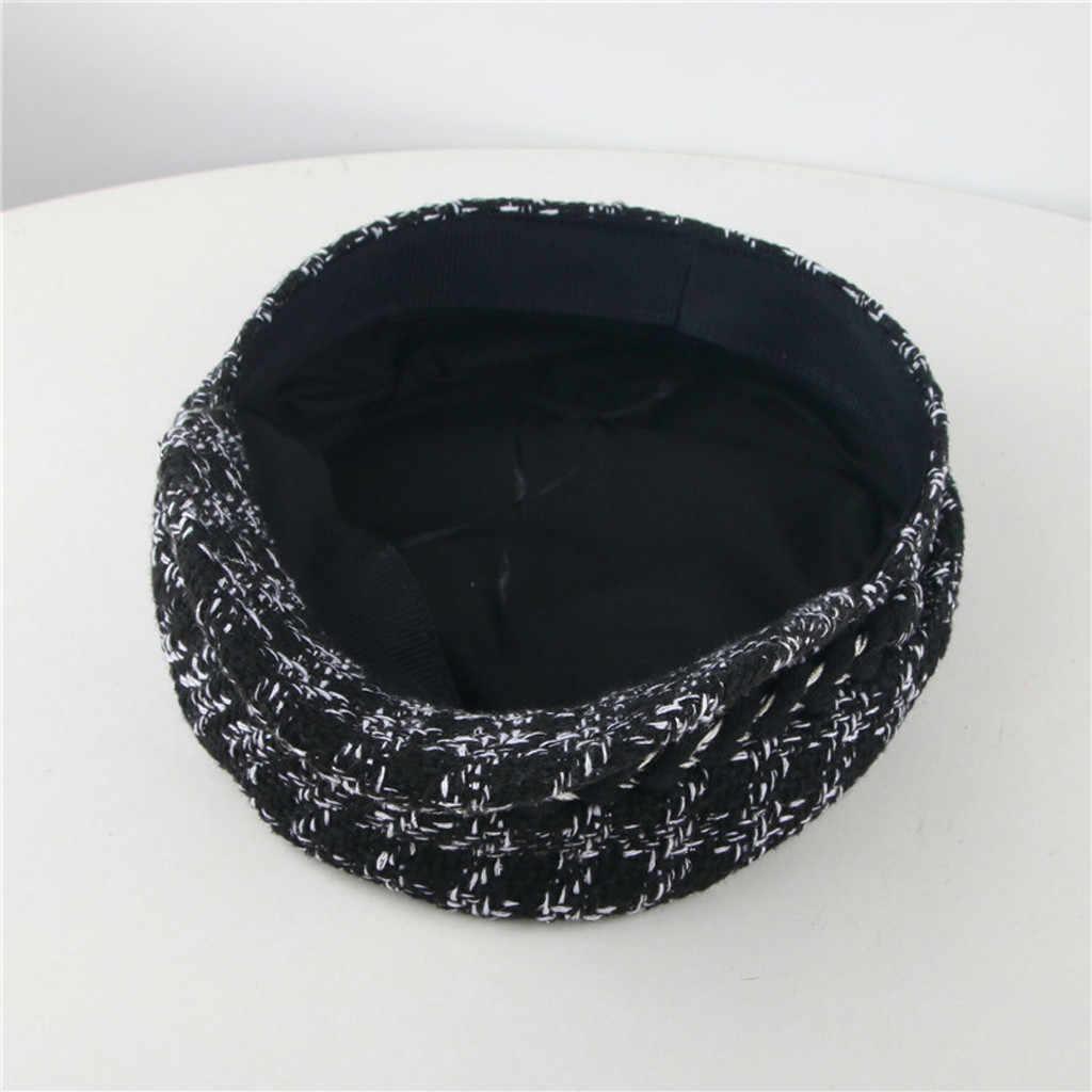 Hot Lady ลายสก๊อตทอผ้า Berets หมวกภาษาฝรั่งเศสคำศิลปิน Retro สีดำและสีขาวฤดูใบไม้ร่วงฤดูหนาวที่อบอุ่นถัก Beanie Headwear Berets