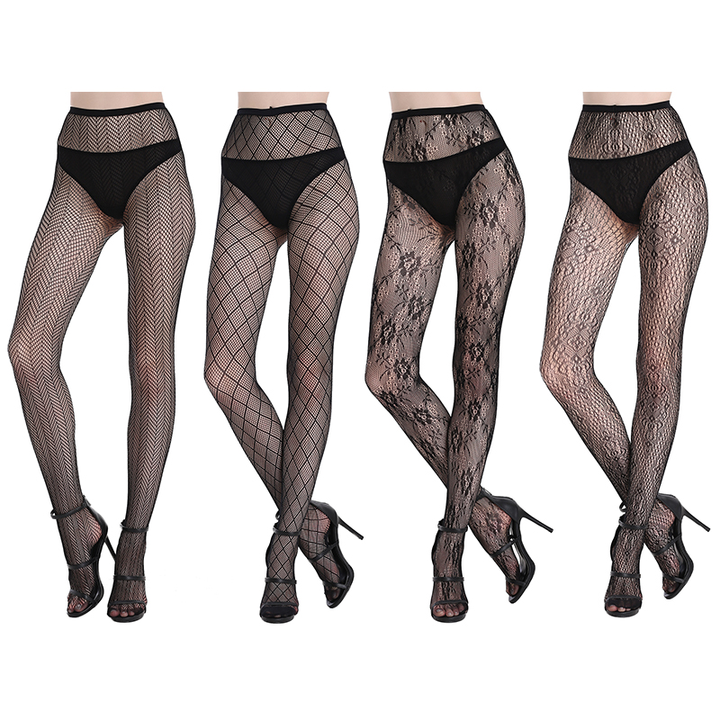 Joyaria Women Sexy Lace Stockings Patterned Tights Fishnet Floral Stockings Thigh-Highs Stockings Pantyhose