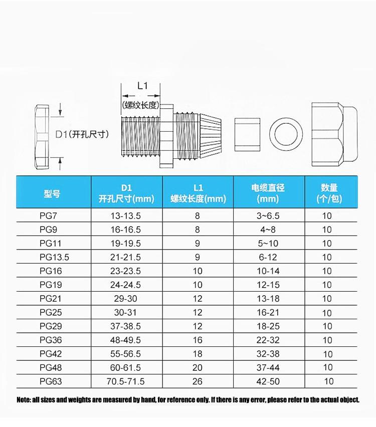 Водонепроницаемый Кабельный сальник 10 шт ввод кабеля ip68 pg7