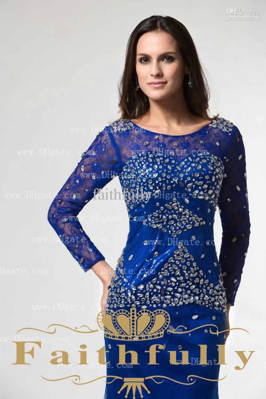 Free Shipping 2016 New Fashion Vestidos De Noiva Casamento Elegant Long Sleeve Lace Mother Of The Bride Dresses With Crystal