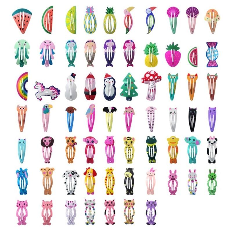 20Pcs/Lot Kids Hair Accessories Cartoon Hair Clip Alloy Barrette Korean Flower Hairclip Cute Headdress Print Hairpins For Girls