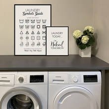 Wäsche Heute oder Morgen Naked Drucke Wäsche Symbole Guide Kunst Leinwand Malerei Print Poster Waschküche Wand Bild Decor