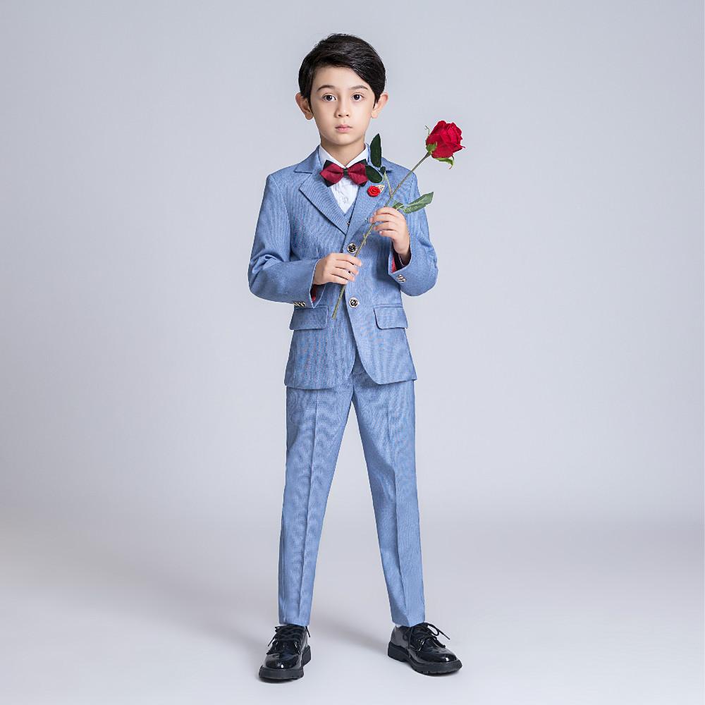 YuanLu Kids Suit For Boy Blazer/Shirt/Vest/Pants Formal Suit For Wedding Party Costume British Style Gentleman Clothes