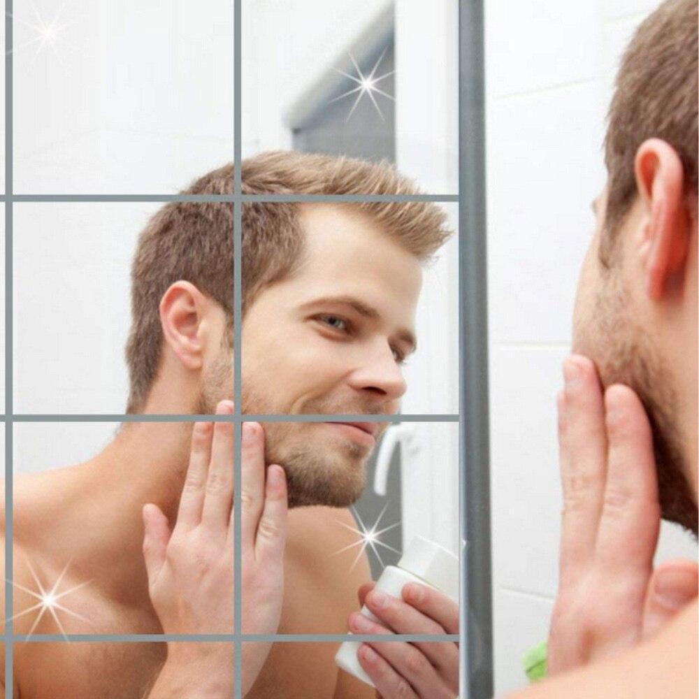 9PCS 15x15CM 0.1MM Wall Stickers Bathroom Mirror Cosmetics Mirror Surface Mosaic Square Self-adhesive 3D Wall Decoration Mirror