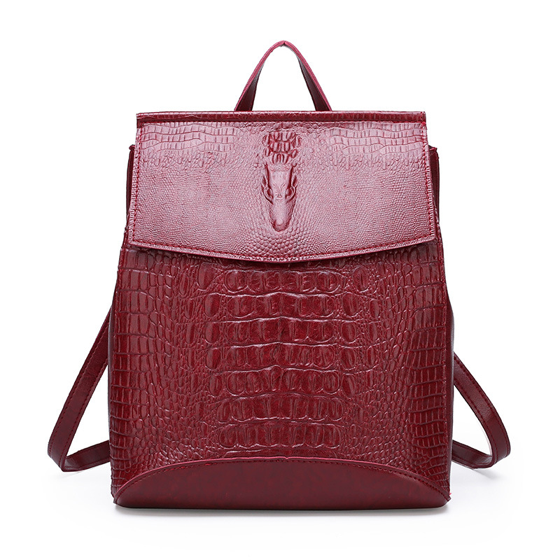 Backpack 2019 New Style Crocodile Pattern Women's Casual Backpack Women's Korean-style Fashion Dual Purpose WOMEN'S Bag