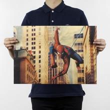 Marvel Super Hero Vintage Poster Spiderman Bar Café decoración del hogar pegatina de pared Vintage pintura decorativa 51.5x35cm