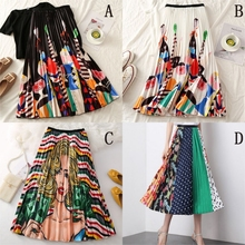 2020 Summer Women Long Pleated Skirt Fashion Cartoon Print White Black Pleated Skirt Casual High Waist Mid-Calf Skirt