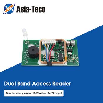 125KHz czytnik kart RFID kontrola dostępu podwójna częstotliwość kontrola dostępu 13 56MHz czytnik kart kontrola dostępu do drzwi zestaw do organizacji tanie i dobre opinie LUCKING DOOR CN (pochodzenie) Brak 125Khz(ID card) 13 56Mhz(IC card) 125KHz 13 56Mhz WG26 WG34 output 59 x 34 x6mm