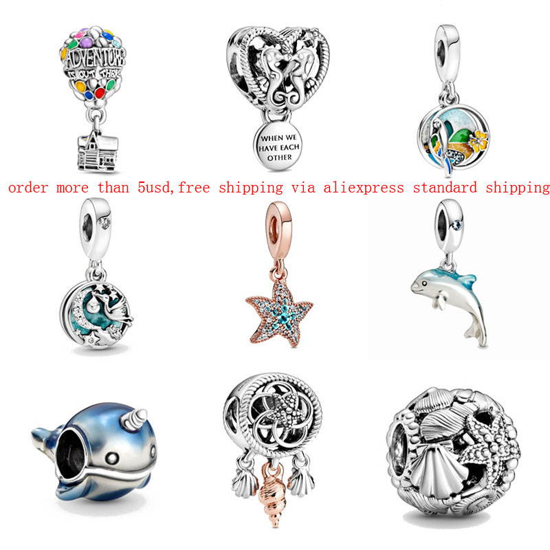 1pc silver color 2020 summer new starfish Shimmering Narwhal Dolphin Dangle ballon Charm Fits pandora Charm Bracelets W016(China)