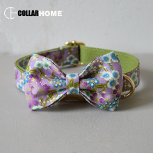 Nylon gold-stamping cloth bow dog collar leash for big small with gold metal buckle tie pet straps