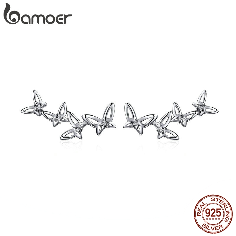 BAMOER High Quality 925 Sterling Silver Simple Dancing Butterfly Stud Earrings For Women Party Jewelry Girlfriend Gift BSE056