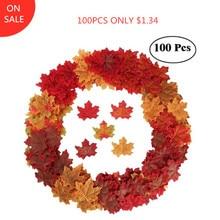 100 шт. искусственные кленовые листья для рождественских декораций, искусственные осенние листья для дома, украшения для свадьбы, вечеринки, Хэллоуина