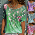 Summer New Floral Print Short Sleeved T Shirt Ladies Casual Loose Blouse Fashion Plus Size Clothing