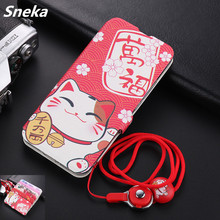 Painted Leather Case for Xiaomi 10 Pro CC9 9SE Redmi 8A 8T 7A Note K30 K20 Flip Cover Cute Pattern Coque With Lanyard