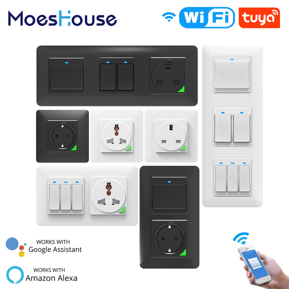 WiFi Smart Light Wall Switch Socket Outlet Push Button DE EU Smart Life Tuya Wireless Remote Control Work With Alexa Google Home