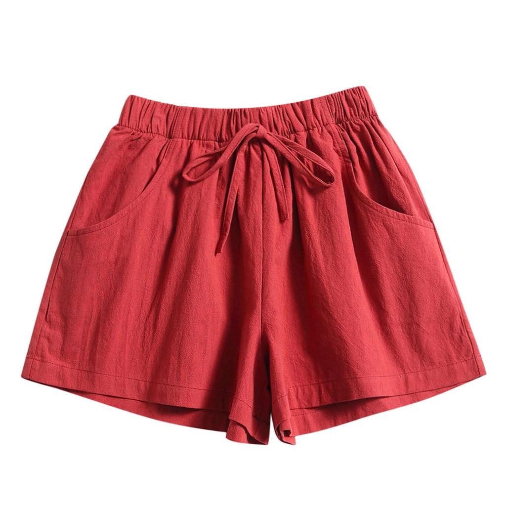 2020 Summer Loose Shorts Drawstring Shorts Womens Comfy Solid Casual Elastic Waist Pocketed Шорты Женские Джинсовые
