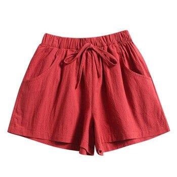 цена 2020 Summer Loose Shorts Drawstring Shorts Womens Comfy Solid Casual Elastic Waist Pocketed Шорты Женские Джинсовые онлайн в 2017 году