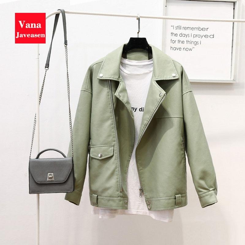 PU   Leather   Jacket Women Coat Turn-down Collar Long Sleeve Zipper Overcoat Womens Coat Winter   Leather   Jacket Outwear Streetwear