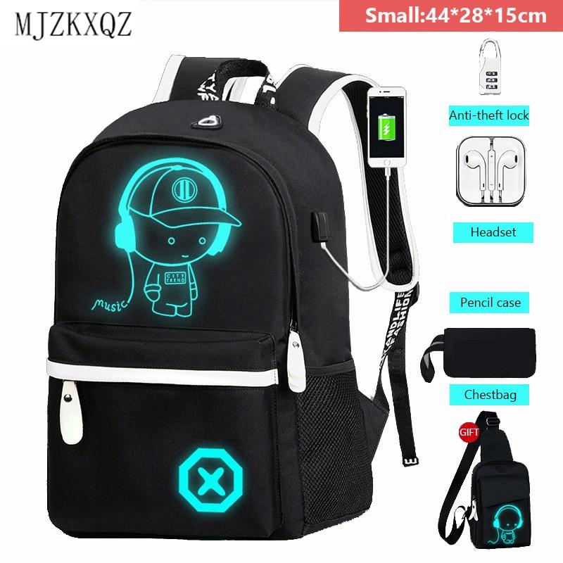 Mochila escolar Mjzkxqz para estudiantes, bolso escolar luminoso con carga USB para chicos, mochilas escolares antirrobo para niños, mochila para portátil|Mochilas escolares| - AliExpress