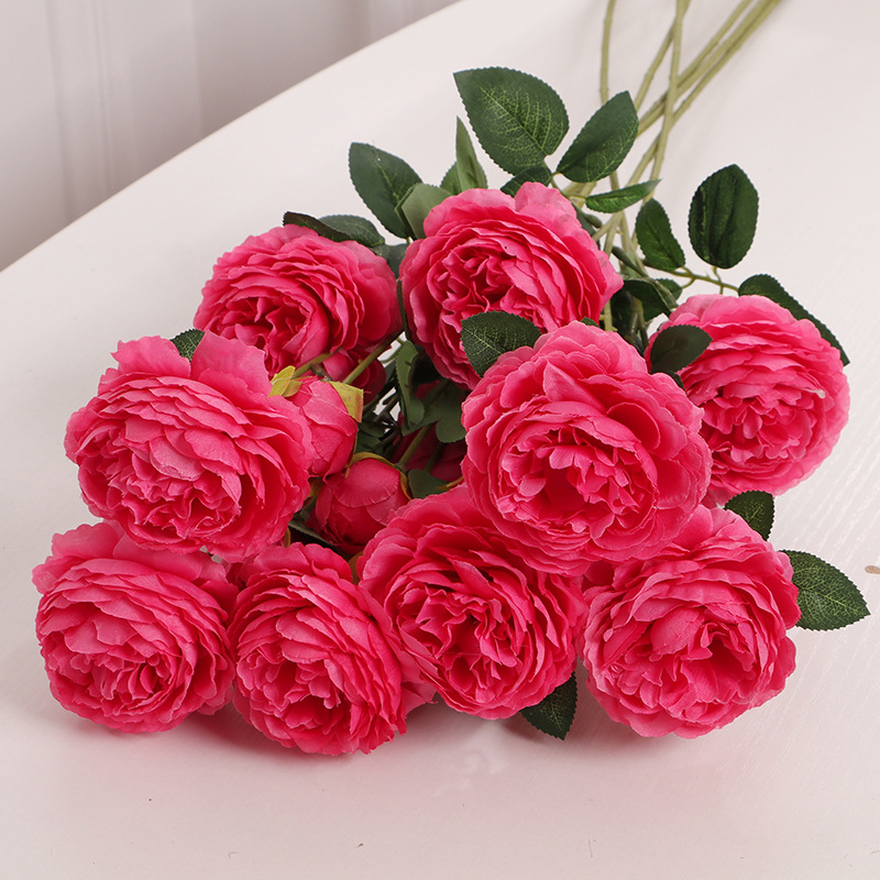 65 cm Rose Pink Silk Peony Artificial Flowers 3 Heads Bride Holding Flower Family Wedding Interior Decoration Cheap Fake Flowers