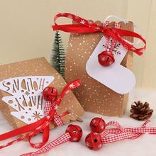 Красные металлические колокольчики в виде снежинок, 20 шт., украшения для рождественской вечеринки, украшения, 30 см ленты, Рождественское украшение для дома