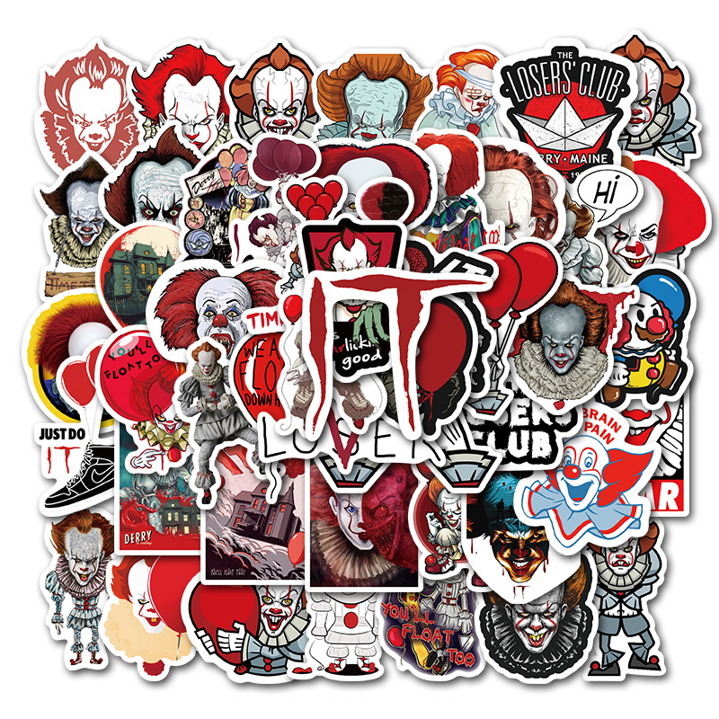 50PCS Horror Movie Stephen Kings It Sticker Pennywise Joker Decal Sticker for Motorcycle Moto Car Laptop Suitcase Cool Stickers
