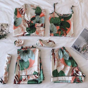Pasek bielizna nocna piżamy damskie 7 sztuk różowe piżamy zestawy satynowa bielizna jedwabna Homewear bielizna nocna zestaw piżam Pijamas dla kobiety tanie i dobre opinie hzoioys POLIESTER spandex W paski CN (pochodzenie) WOMEN Silk Y180616A-200728B okrągły dekolt Pełna długość PIŻAMY