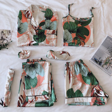 Pijama de tirantes para mujer, ropa de dormir rosa de 7 piezas, lencería de seda satinada, para casa