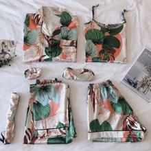 Strap Sleepwear Pyjamas Womens 7 Pieces Pink Pajamas Sets Satin Silk Lingerie Homewear Sleepwear Pyjamas Set Pijamas For Woman