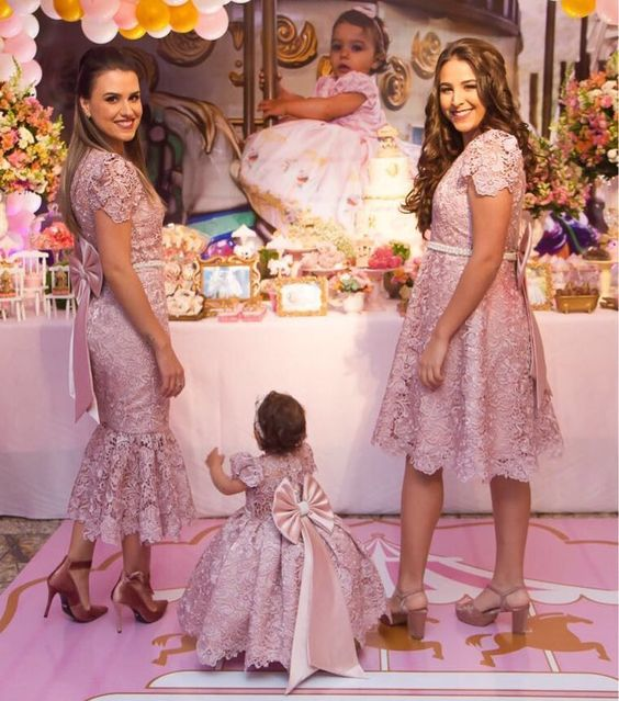 Mother Daughter Pink Lace Birthday Party Dresses Blush Pink Girls First Communication Dresses Christening Pink Dresses Custom