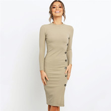 Sexy Package Hips Women Pencil Dress Fashion Solid Full Sleeve O-Neck Long Autumn Dress New Casual Knitted Vestidos Robe Female цены