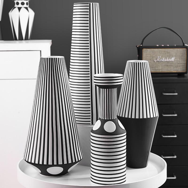 Nordic Black And White Striped Creative Ceramic Vase Geometric Craft Ornaments Room Decoration Accessories Home Decor Figurines Miniatures Aliexpress