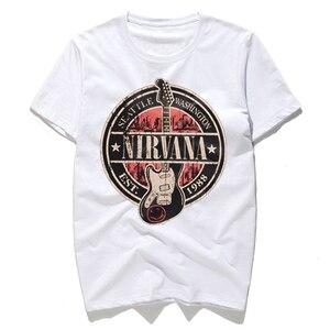 Мужская хлопковая футболка с принтом NIRVANA, Повседневная Уличная футболка в стиле хип-хоп, черно-белые футболки с цифровым принтом