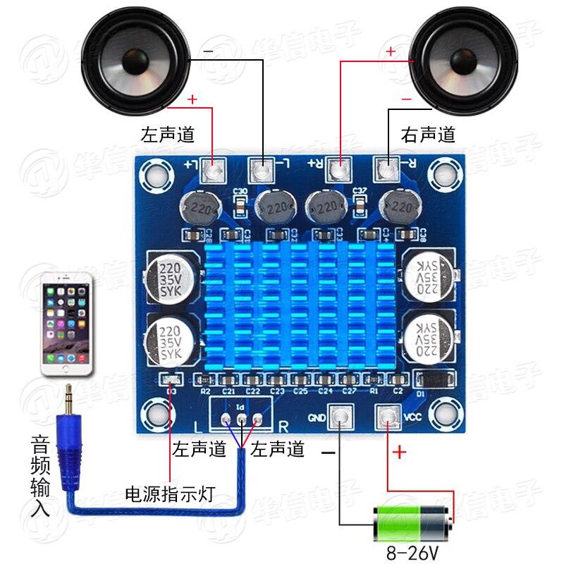 XH-A232 HD Digital Audio Amplifier Board MP3 Amplification Module 12v24v Sound Amplification Board Double Channel 30W