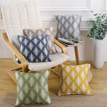 Home Decorative Pillow Cover Yarn-dyed Linen Geometric  Square Cushion For Sofa Bed 45x45cm Yellow Green Blue