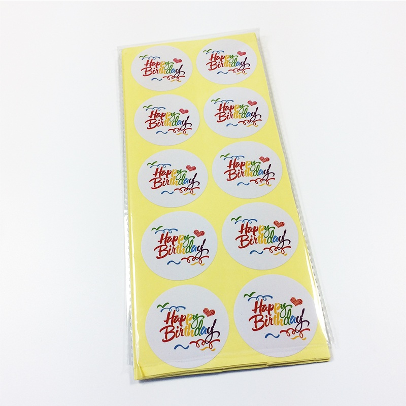 100pcs pack Multicolor Word Happy Birthday White Sealing Sticker DIY Work Round Gift Stickers in Stationery Stickers from Office School Supplies