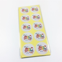 100pcs/pack Multicolor Word Happy Birthday White Sealing Sticker DIY Work Round Gift Stickers