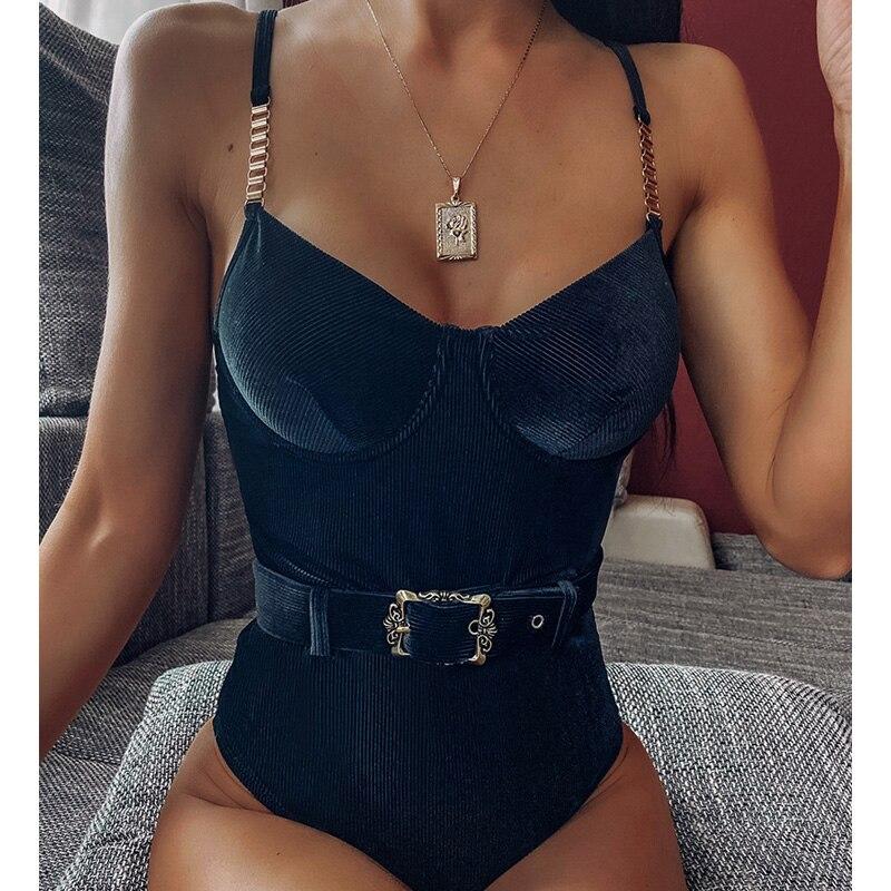 Черный купальник Для женщин Цельный Цепи сексуальный купальный костюм бикини 2020 Mujer ремень с высокой купальники бикини пуш ап купальник Монокини|Купальники  |   | АлиЭкспресс