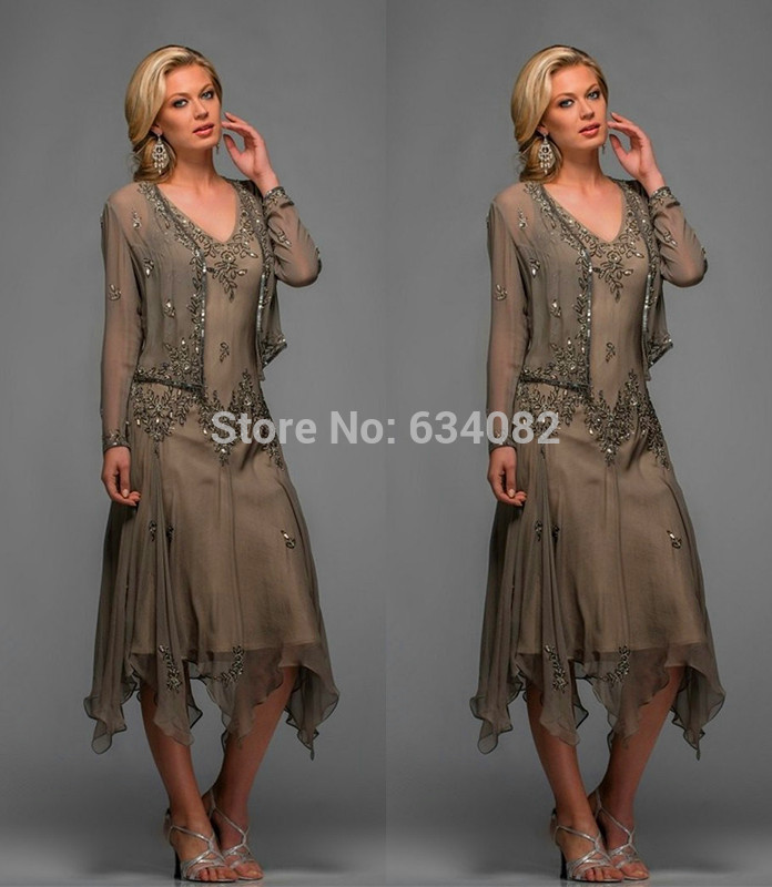 Wholesale V-neck Applique Beading 2016 New Chiffon Hunter Green Chiffon Tea Length Mother Of The Bride Dresses With Jacket