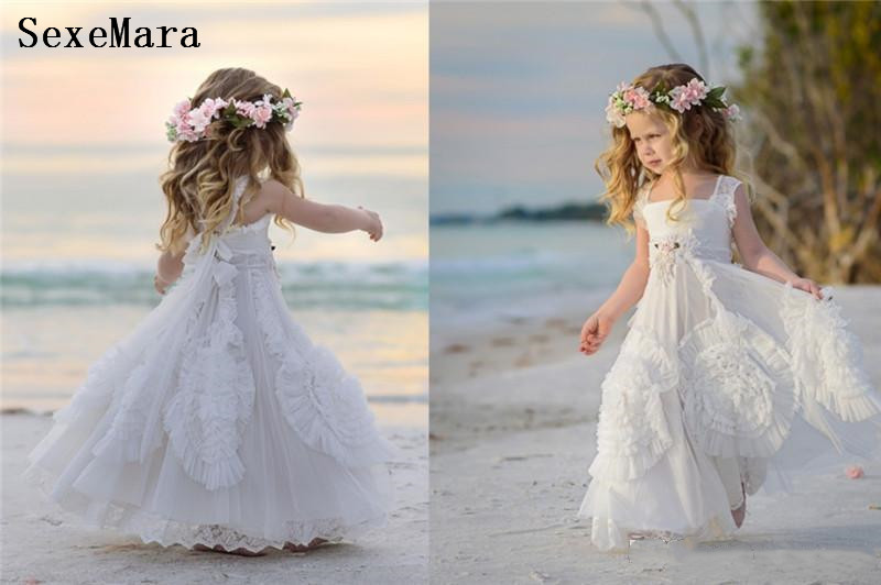 White   Flower     Girls  '   Dresses   For Wedding Square Neck Applique Beads Kids Formal Wear Sleeveless Beach   Girl's   Pageant Gowns