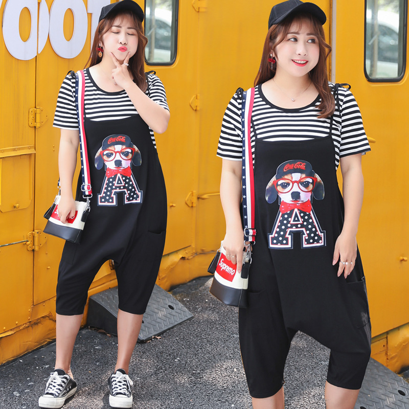 2019 Summer Wear New Style Manufacturers Direct Supply A Generation Of Fat Plus-sized Trendy Two-Piece Set Suspender Pants Cool