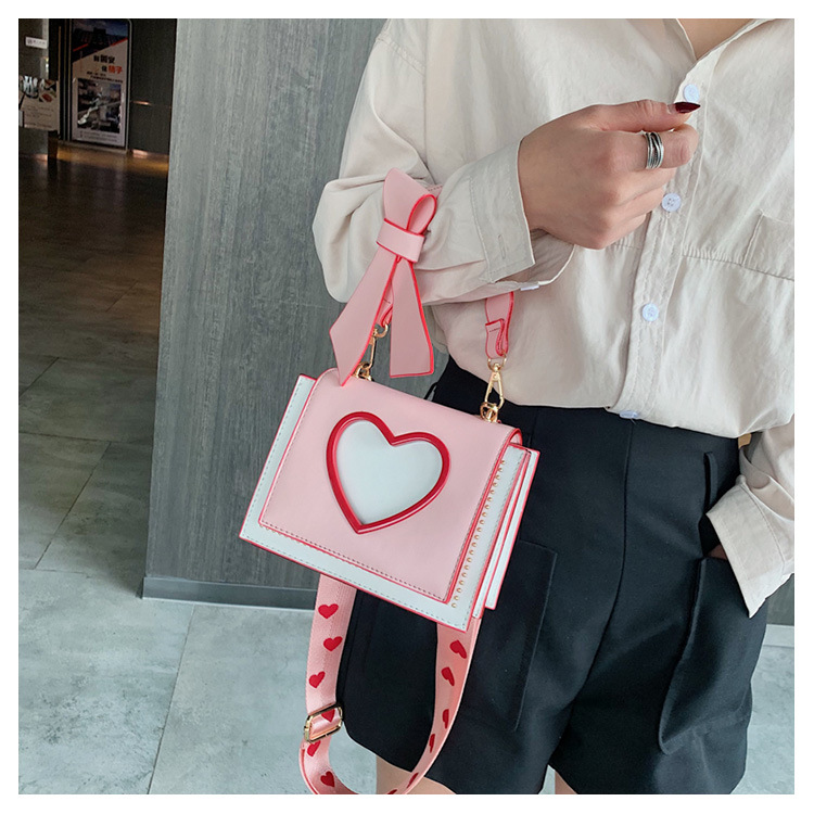 Shoulder Bags Heart PU Handbags Fashion Designer Crossbody Bag for Women High Quality Casual Flap Female Pink Messenger Bags