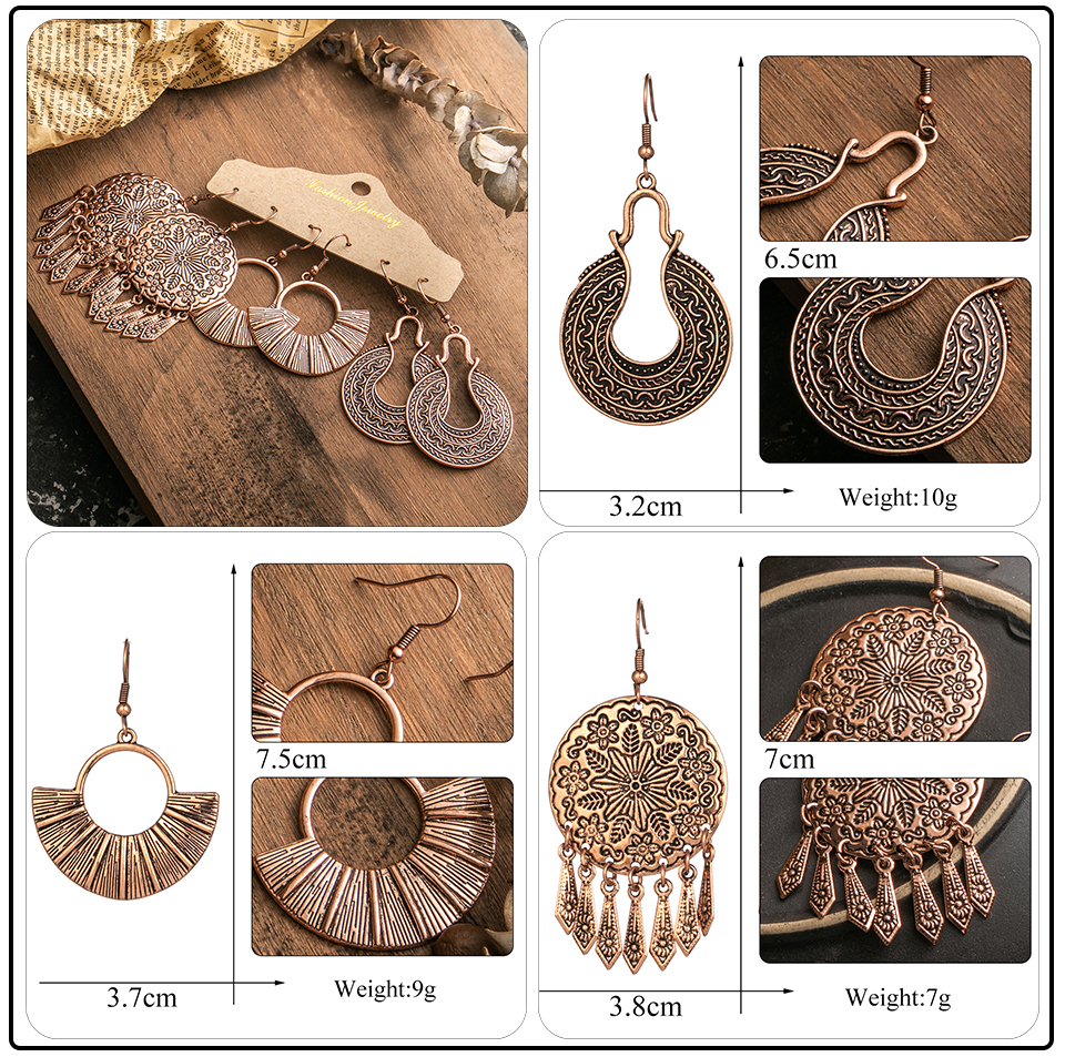Ethnic Rose Gold Metal Tassel Fringe Womens Earrings Sets Jewelry Bohemia Vintage Round Circle Leaf Butterfly Geometric Drop Earrings Dropshipping Wholesale (13)